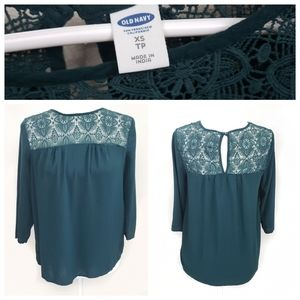 Old Navy Green Lacey Winter Spruce Top Sz. XS